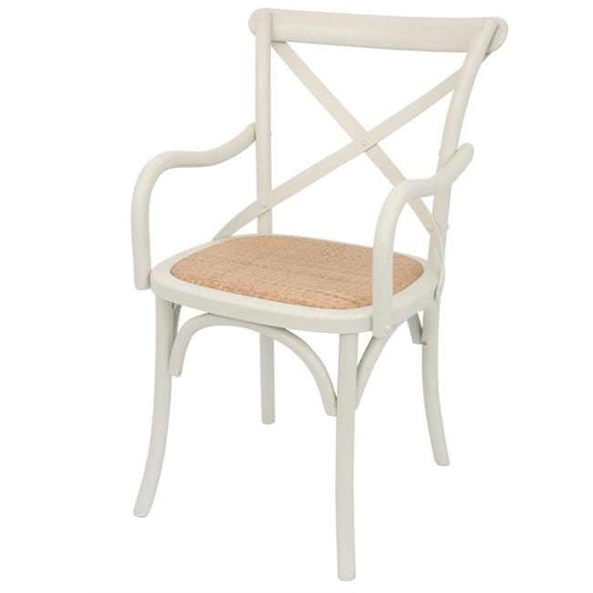 Cross back Arm dining Chair Stone colour off white