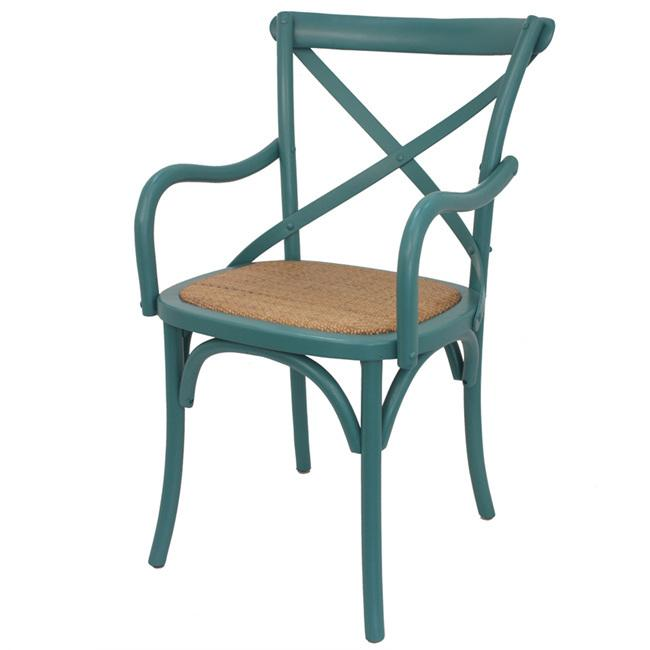 Cross back Arm Dining Chair Teal colour
