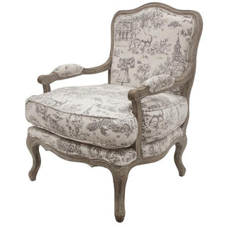 Toile Arm Chair French Provincial