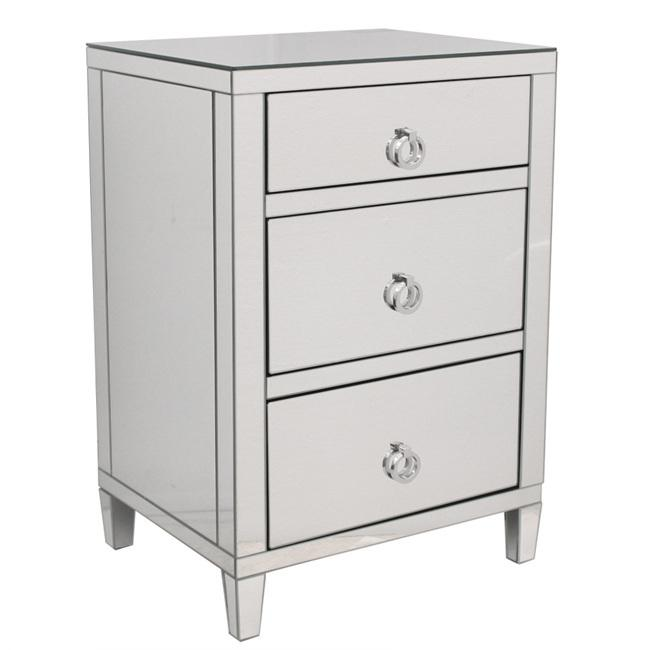 Mirrored Modern Bedside 3 drawer