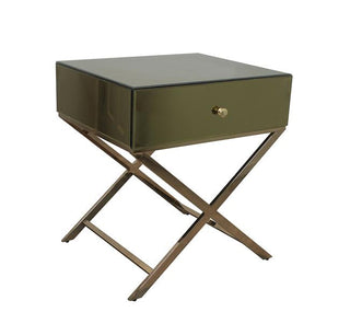 Whitney Champagne Modern Mirror Bedside Table