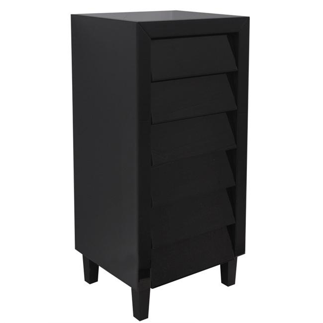 Black Mirror Tallboy 6 Drawers