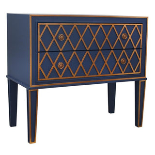 Criss Cross Gold Leaf wood decorator Chest of Drawers