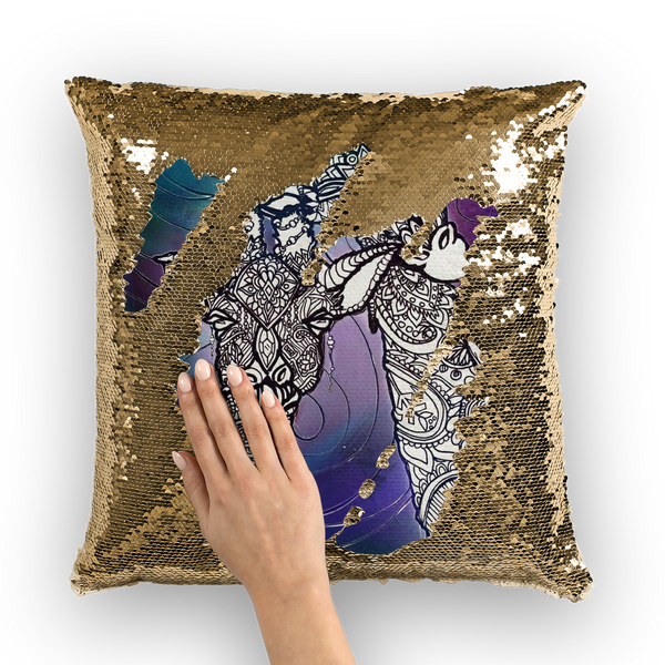 Cosmic Giraffe  Sequin Cushion Cover