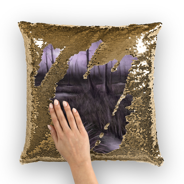 Swamp Art Sequin Cushion Cover