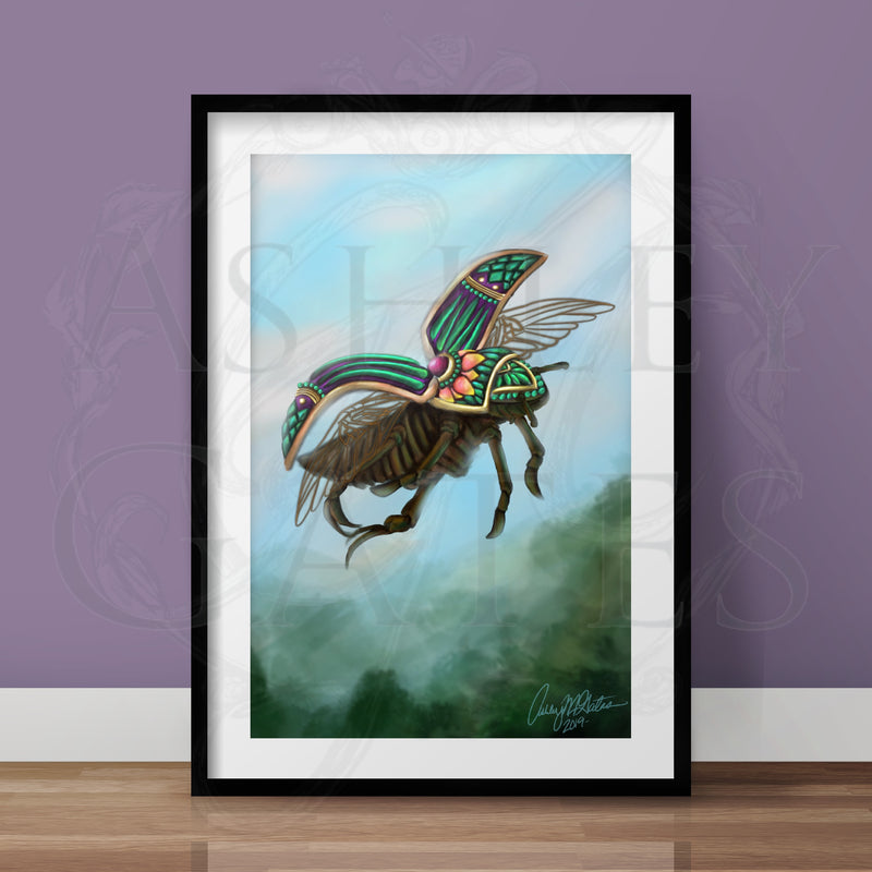 Green Beetle Full Art Print