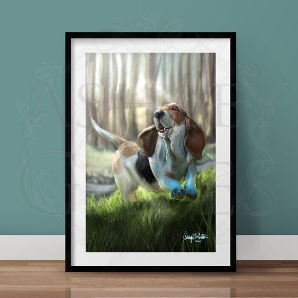Happy Basset Full Art Print