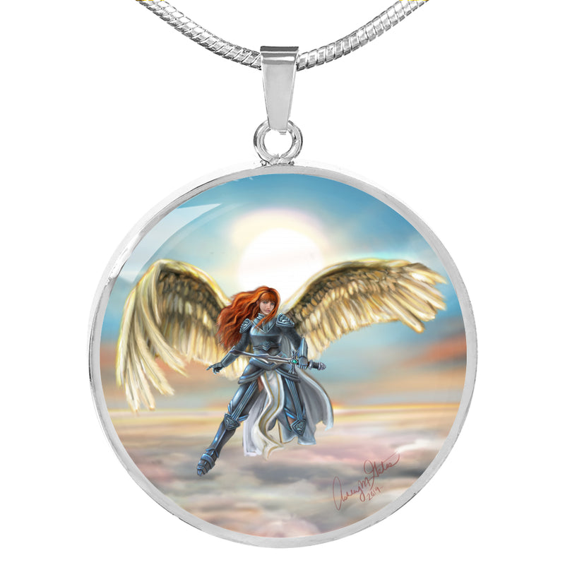 Ashley Gates Flying Angel Circle Pendant