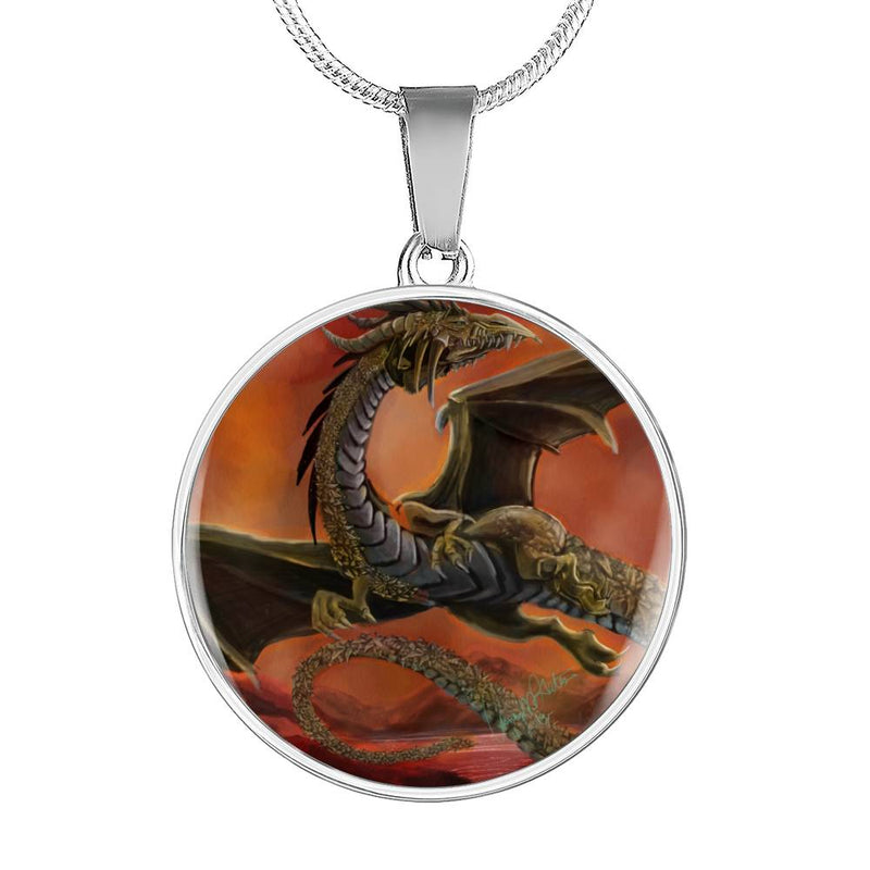 Golden Mountain Dragon Circle Pendant