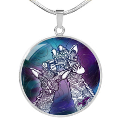 Ashley Gates Cosmic Giraffe Luxury Circle Pendant Necklace