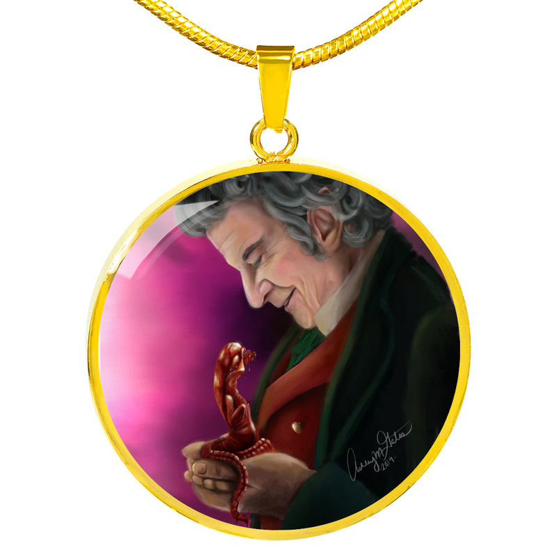 """My Precious"" by Ashley Gates (Pink Background Variant) Luxury Circle Pendant Necklace"