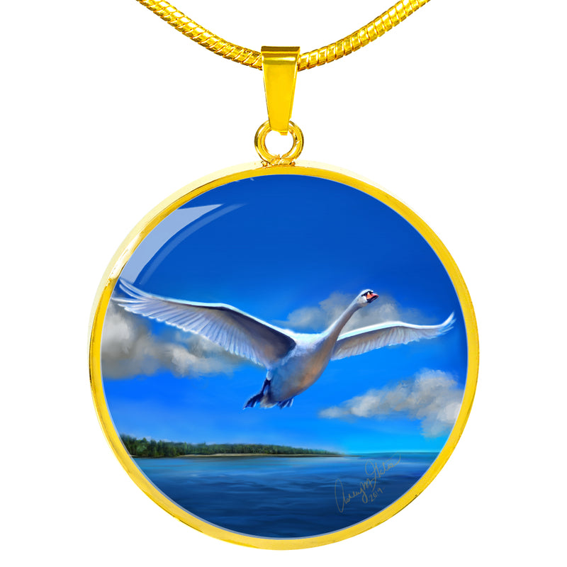 Ashley Gates Swan Luxury Circle Pendant Necklace