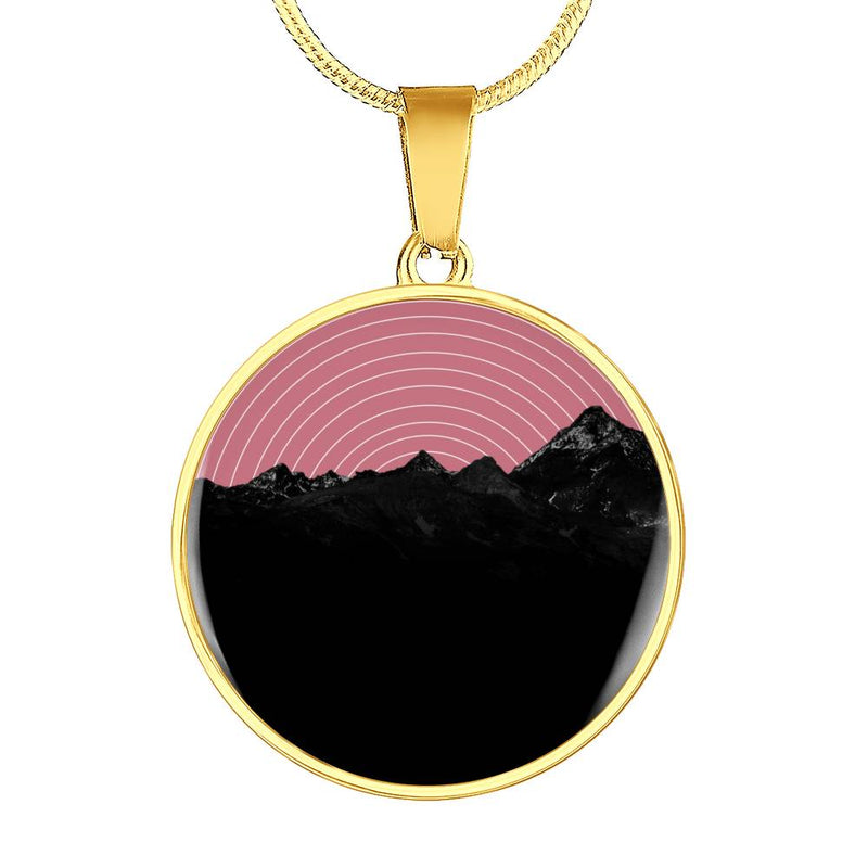 "Posh Society ""Vinyl Mountains"" Circle Pendant Necklace"
