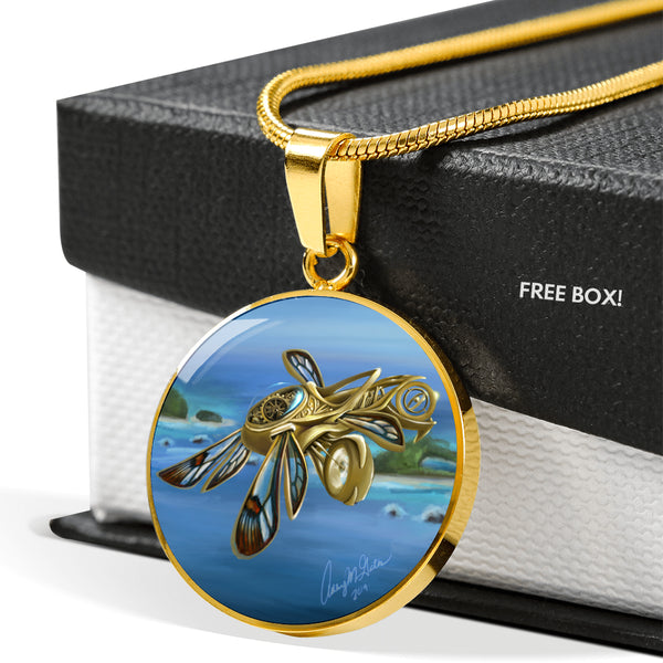 Ashley Gates Glasswing Clockwork Thopter Luxury Circle Pendant Necklace