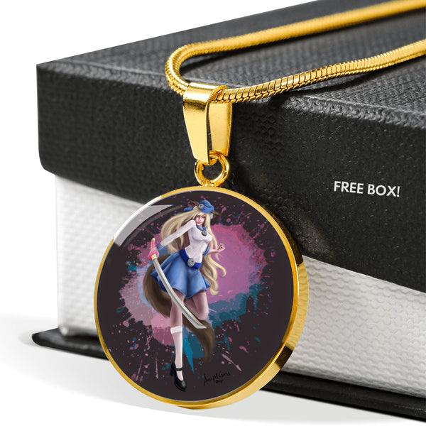 Kitsune Girl Luxury Circle Pendant Necklace