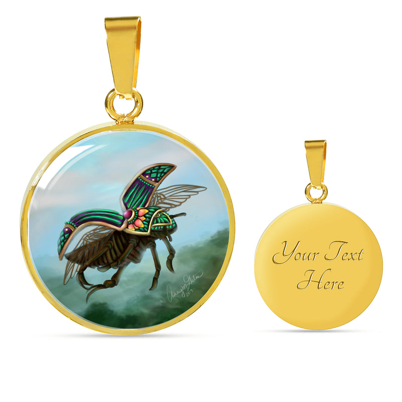 Ashley Gates Green Beetle Insect Luxury Circle Pendant Necklace