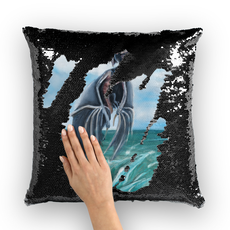 Water Dragon Sequin Cushion Cover