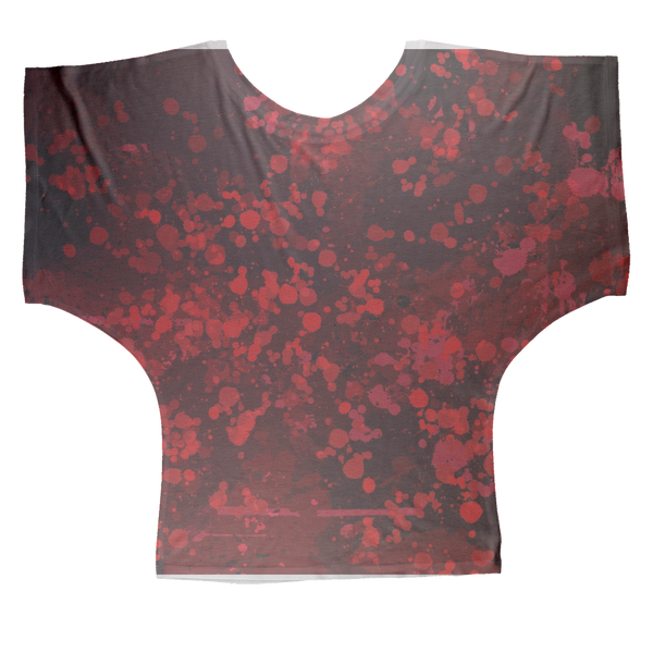 Dark Blood Splatter Sublimation Batwing Top