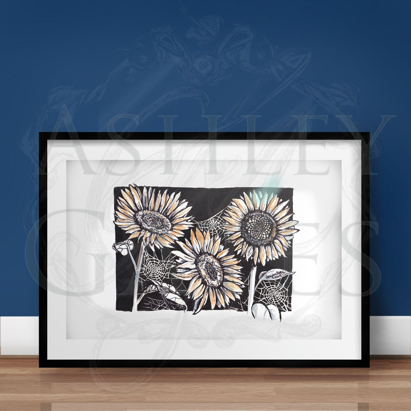 Sunflowers and Spiderwebs Print