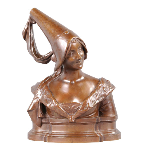 Bronze Bust of a Medieval Maiden, France, c.1900