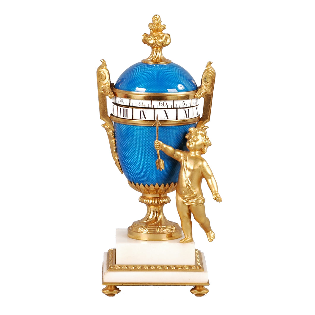 French Ormolu and Guilloché Orbital Clock, c.1875