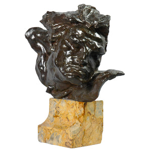 """Le Rhône"" Bronze sculpture bust of a man's head, France, Art Deco. Signed André C. Vermare, c.1910"