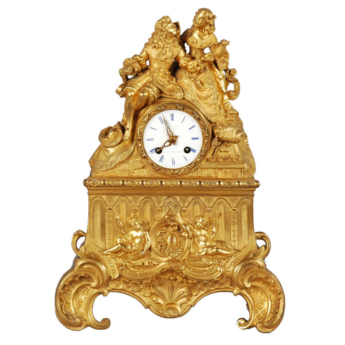 Antique French Mantle Clock by Grout, Paris, c.1840