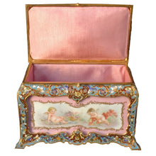 Load image into Gallery viewer, Sèvres and Champlevé jewelry box, France, c.1870