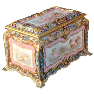 Sèvres and Champlevé jewelry box, France, c.1870