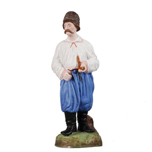 Antique Gardner porcelain figure of Cossack with a pipe, Russia