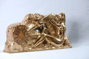 Bronze Doré Art Deco Sculpture by Raoul Eugène Lamourdedieu