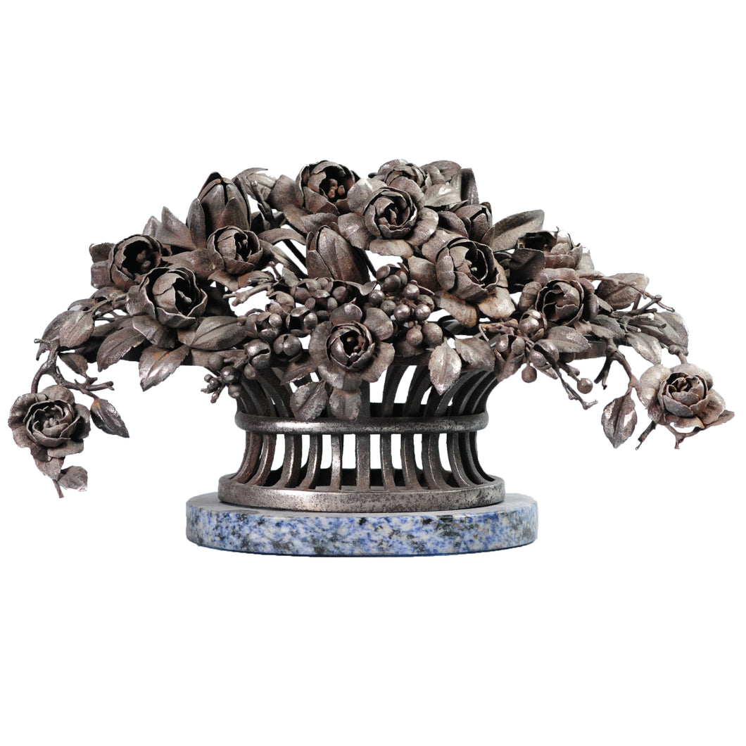 Steel or Iron basket of flowers, France, c.1910