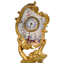 Load image into Gallery viewer, Vienna Enamel and Ormolu Cherub holding a clock. Austria, c.1870