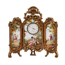 Load image into Gallery viewer, Viennese Enamel Table Screen Clock, c.1875