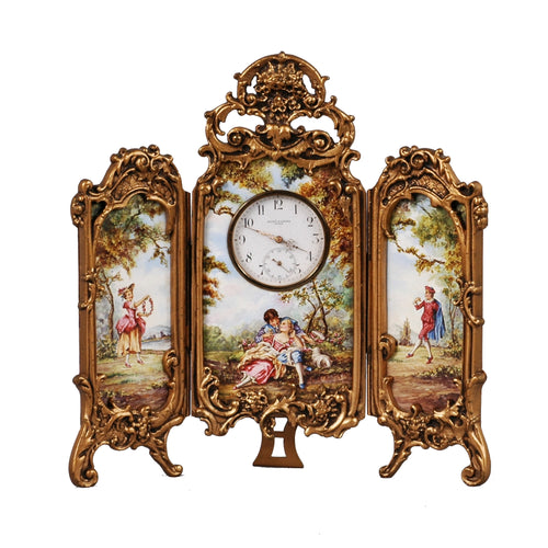 Viennese Enamel Table Screen Clock, c.1875