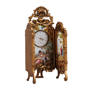 Viennese Enamel and Bronze Table Screen Clock. Clock face marked Josef Kanner Wein.  Vienna, c.1875