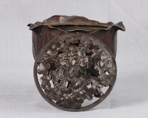 Bronze Cabbage Leaf Incense Burner, Japan, c.1875