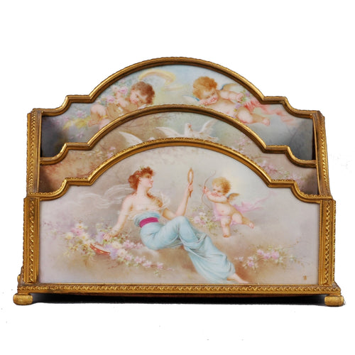 Antique Sevres desktop letter holder in ormolu mounts