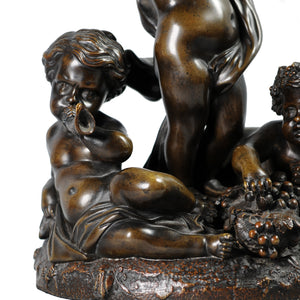 Bronze Figural Group of Putto and grapes. France, c.1880