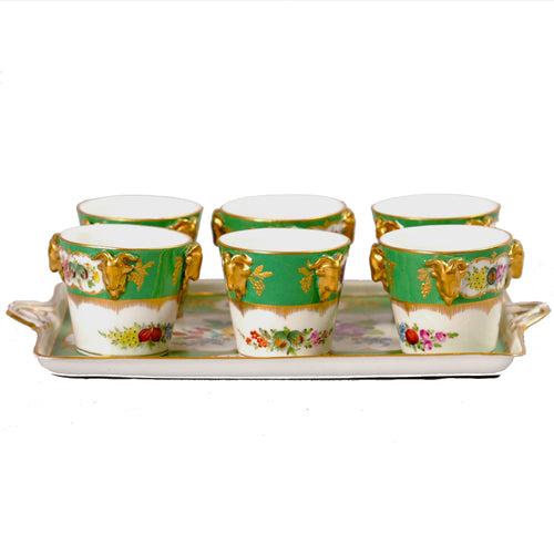Sevres style pot de creme set apple green