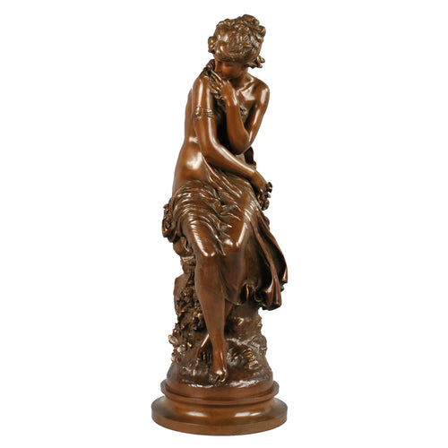 Antique Bronze Sculpture of a woman by Mathurin Moreau, c.1860