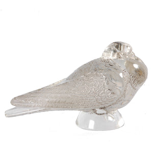 Pair of Lalique pre-war Pigeons Bruges and Verviers, Signed