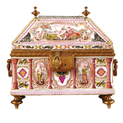 Capodimonte Porcelain Treasure Chest, Italy, c.1900