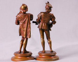 Pair of Bronze Musicians signed Guillot, France, c.1890