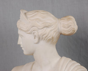 White Marble Bust of Diana, Artist Signed, Italy, c.1875