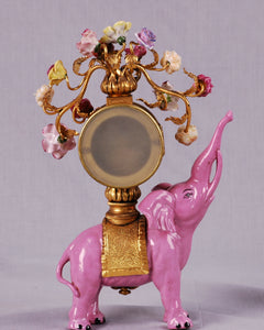 Pink Porcelain Elephant Clock, China, c.1925