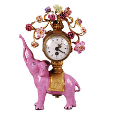 Load image into Gallery viewer, Antique Pink Porcelain Elephant Clock, China, c.1925
