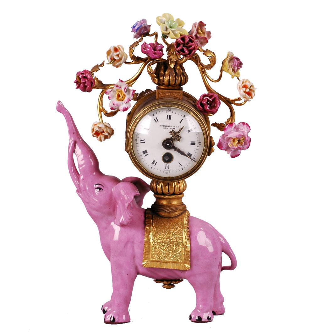 Antique Pink Porcelain Elephant Clock, China, c.1925