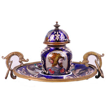 Load image into Gallery viewer, Enamel inkwell and stand, France, c.1850
