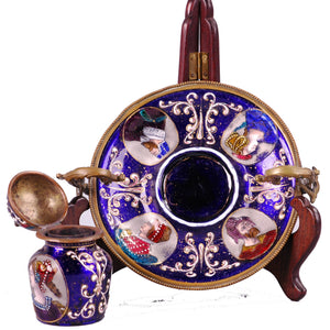 Enamel inkwell and stand, France, c.1850